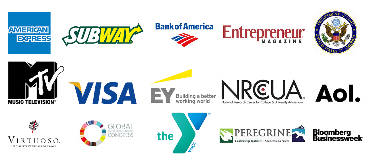 An image of the many different company logos YSN (Your Success Now) has worked with.